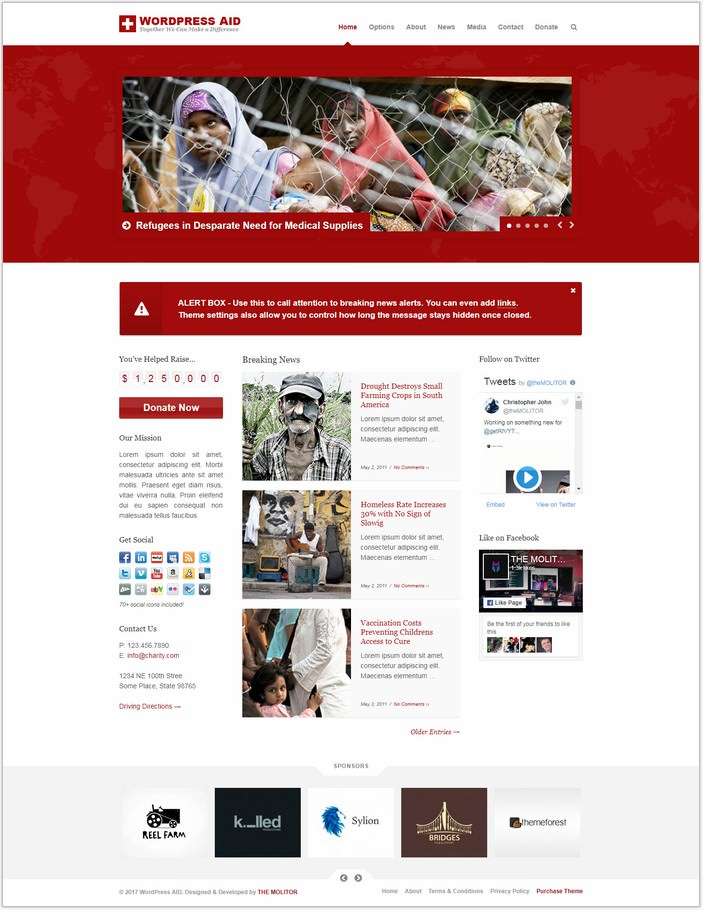 Aid Responsive Charity + Blog PHP Theme