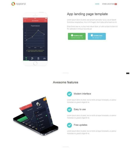 Appland – Free Bootstrap App Landing Page Template