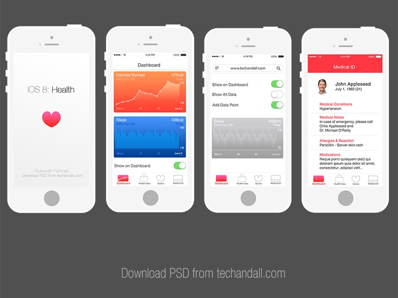 Apple iOS 8: Health App Mockup