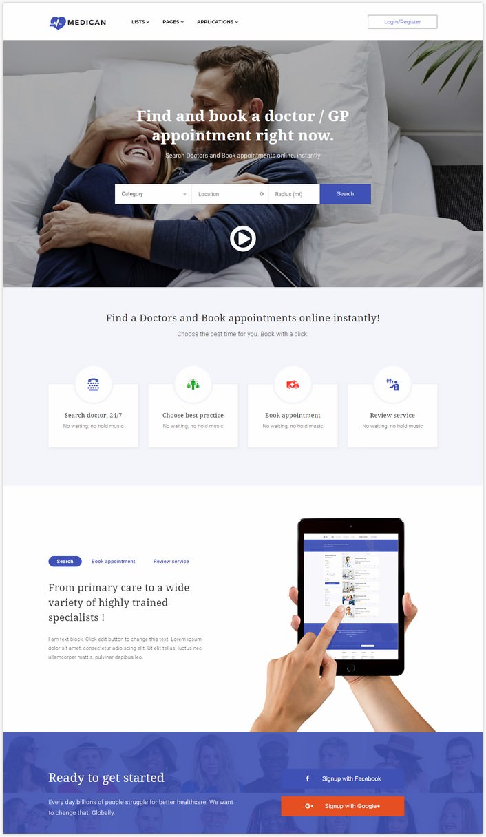 Appointment Booking, Marketplace, Directory WordPress Theme - Medican