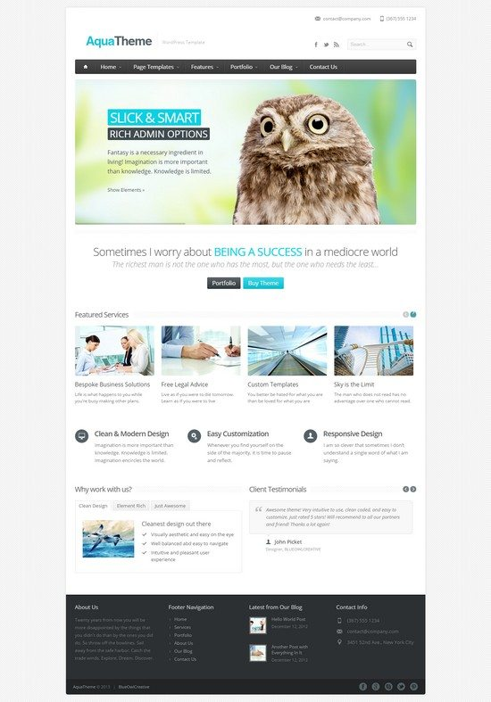 Aqua - Responsive Multi-Purpose WordPress Template