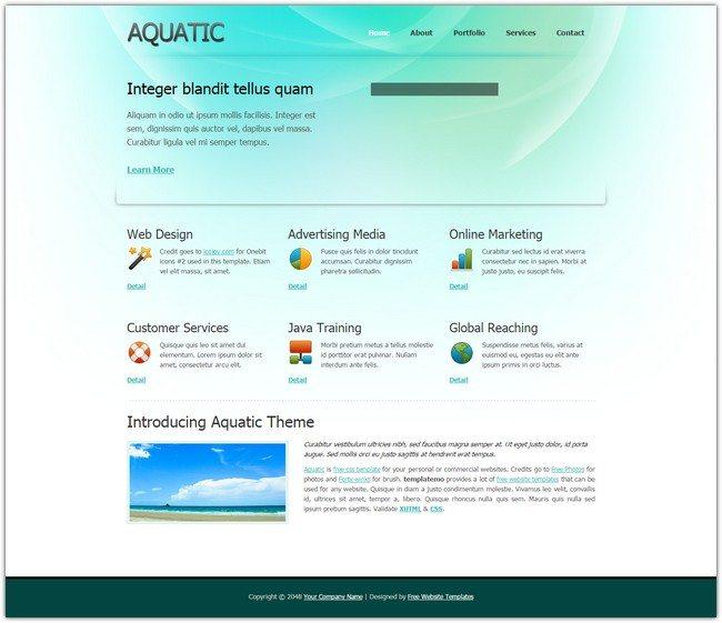 Aquatic Dreamweaver Template