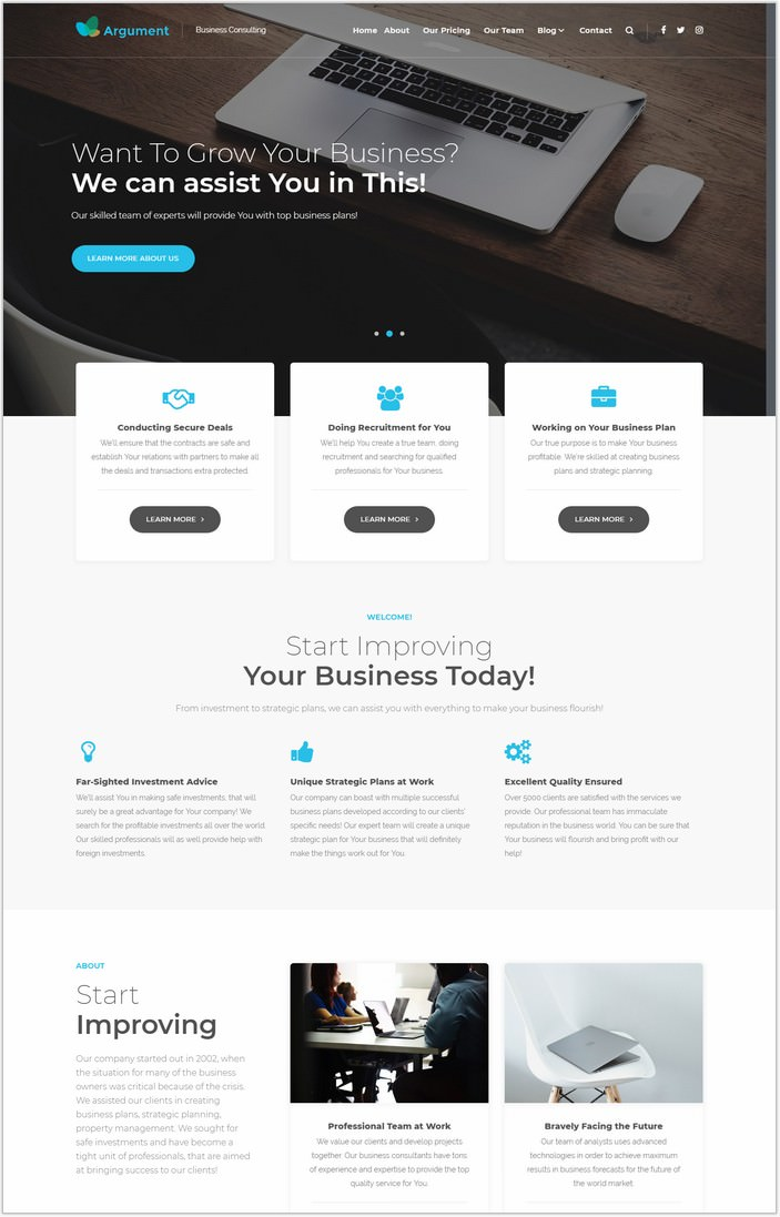 Argument Business Consulting Marketing PHP WordPress Theme