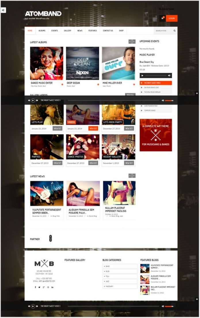 AtomBand-Responsive Dj Events & Music Theme