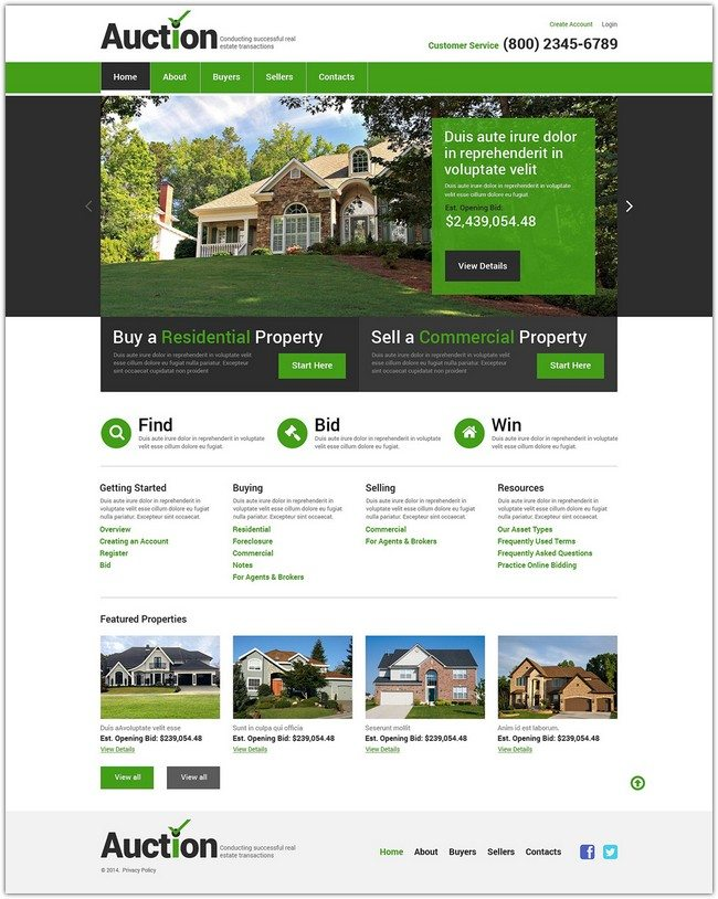 Auction Real Estate Agency Responsive Website Template