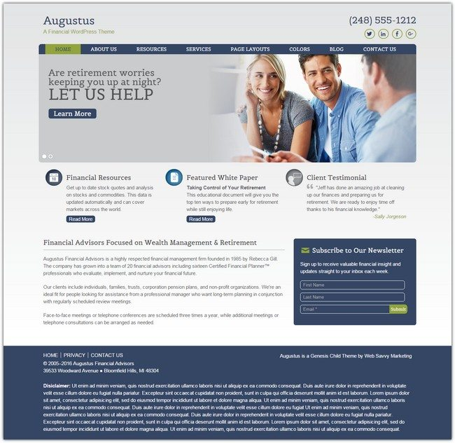 Augustus WordPress Financial Theme