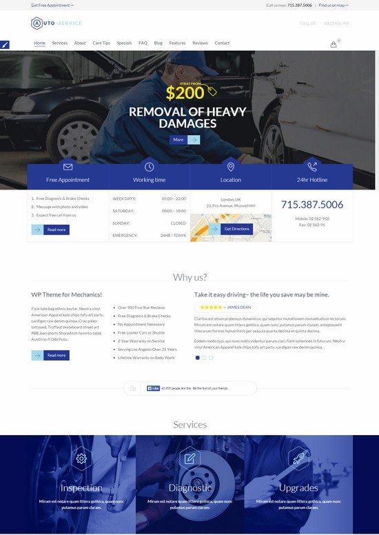 Auto Car Repair Mechanic Shop Responsive Theme