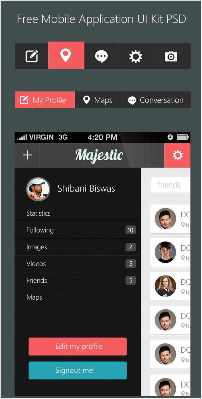 Beautiful Free Mobile Application UI Kit PSD