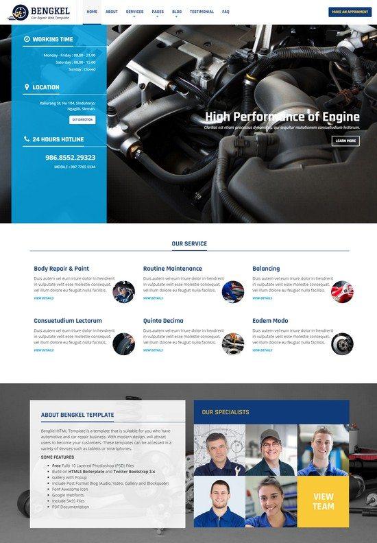 Bengkel - Modern Auto Car Repair Business Template