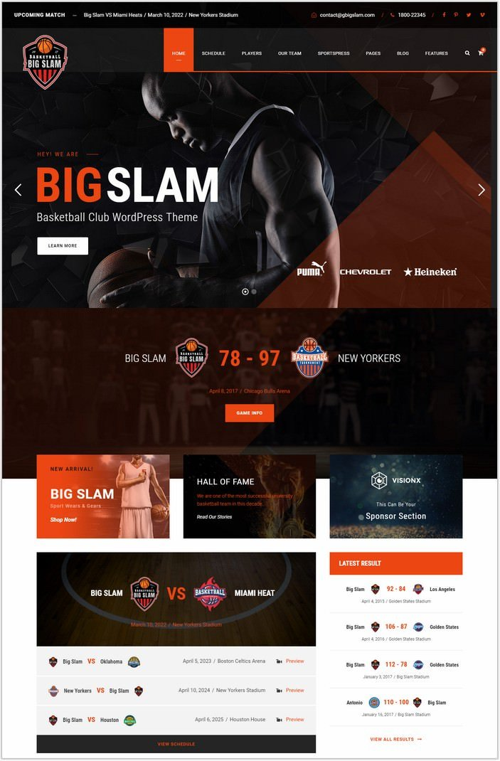 Big Slam - Basketball WordPress Theme