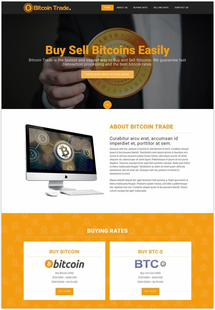 Bitcoin trade a bootstrap website template for creating free bitcoin sites