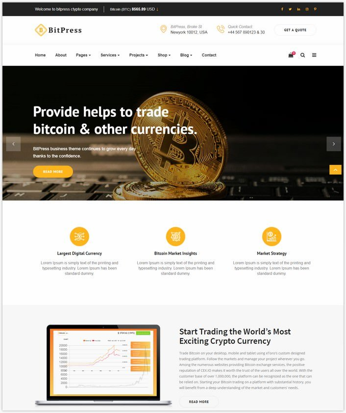 Bitpress – Bitcoin And Crypto Currency HTML Template