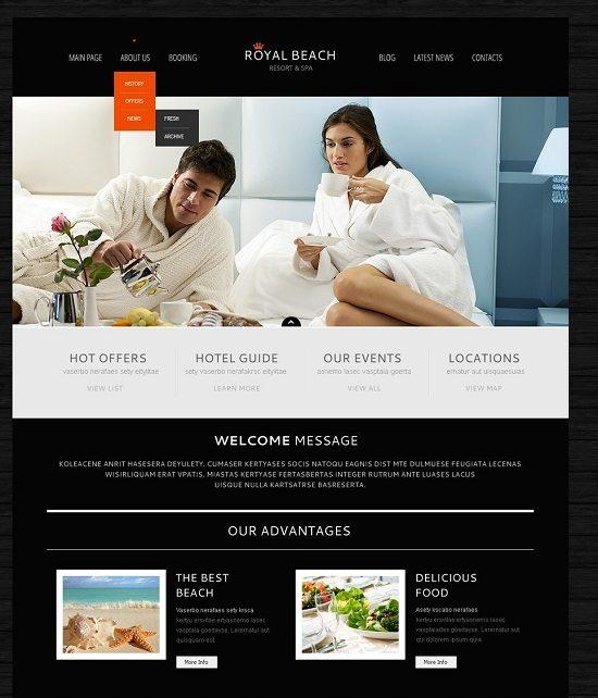 Black Hotel Business WordPress Theme
