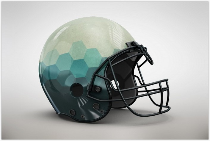 Blue Gradient Helmet Mock up Free Psd