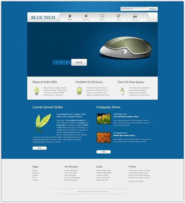 Blue Tech Dreamweaver Template