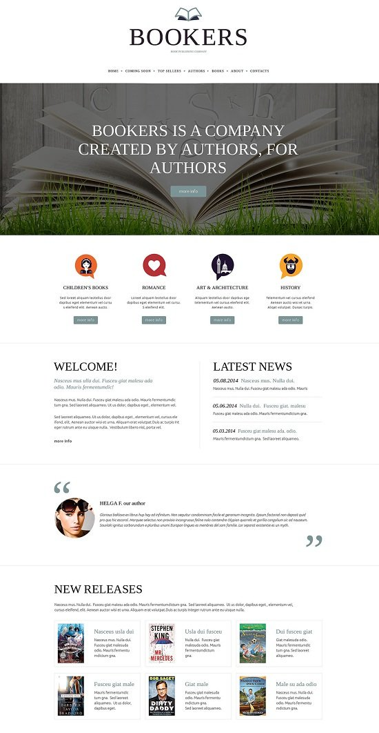 Bookers Publishing Company Responsive Website Template