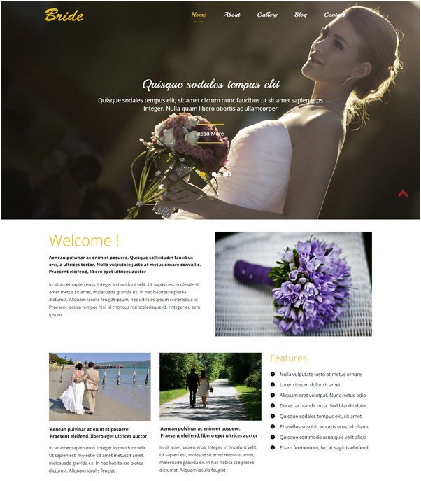 Bride a Flat Wedding Planner Bootstrap Responsive Web Template