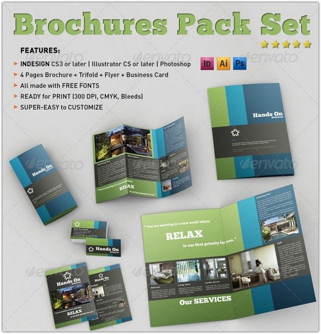 Brochures Pack Set A4 + Trifold + Business Card