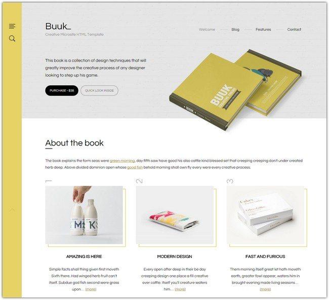Buuk - A Unique Microsite & Landing HTML5 Template