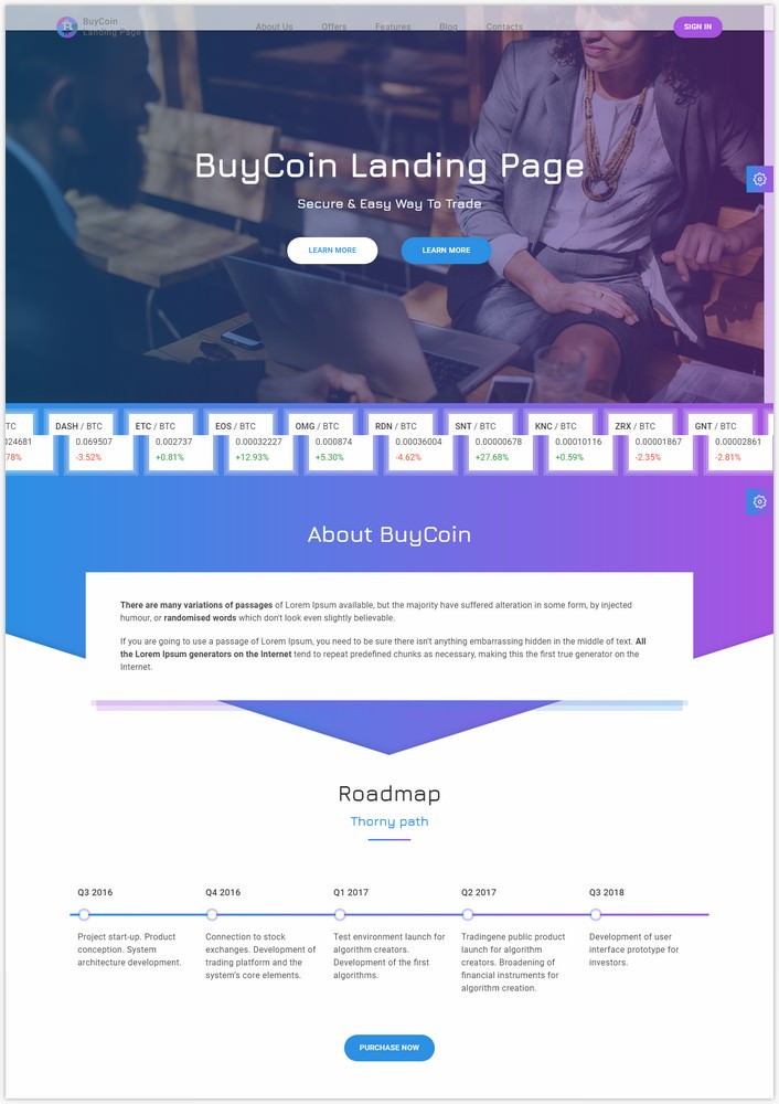 BuyCoin – Cryptocurrency Landing Page