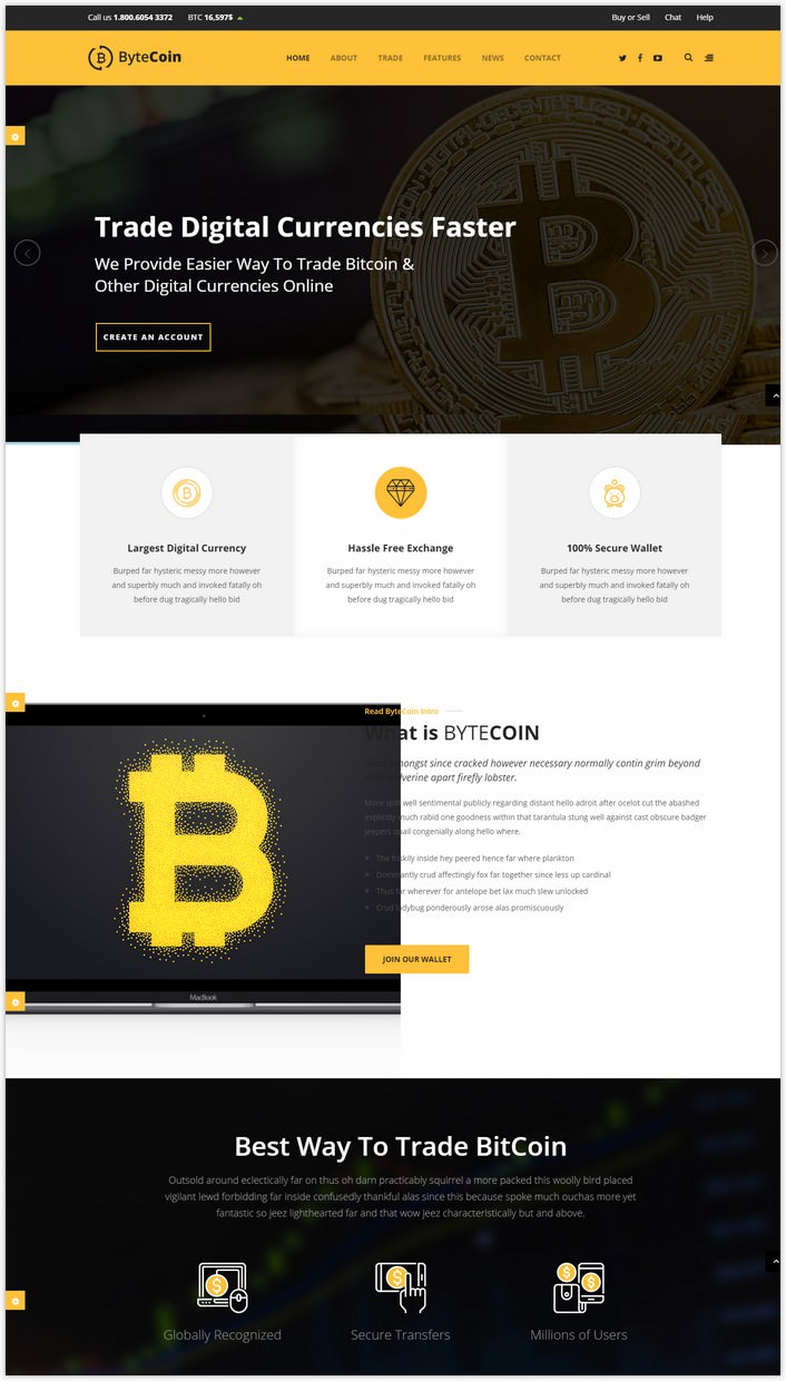 ByteCoin – Bitcoin And Crypto Currency HTML Template