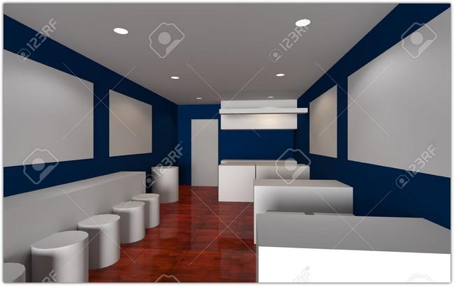 Cafe shop Interior 3d render, mock-up design