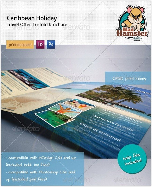 Caribbean Holiday, Travel Offer, Tri-fold Brochure