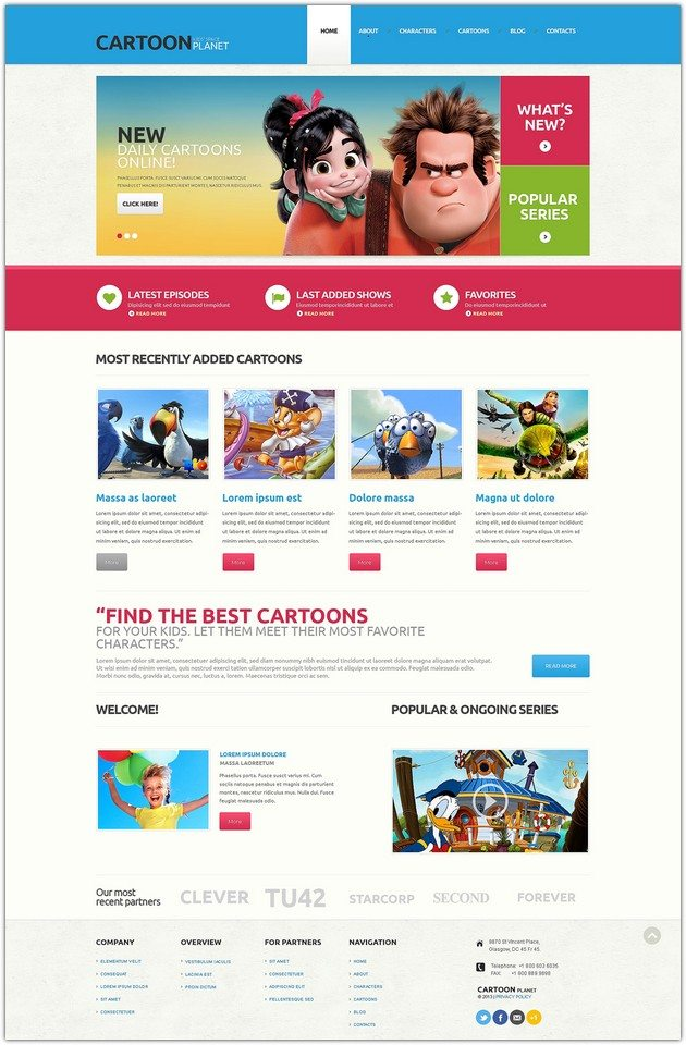 Cartoon planet Movie Responsive WordPress Theme