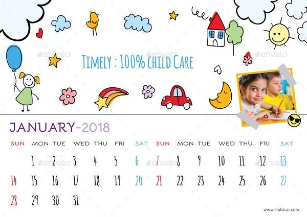Child Care Desk Calendar