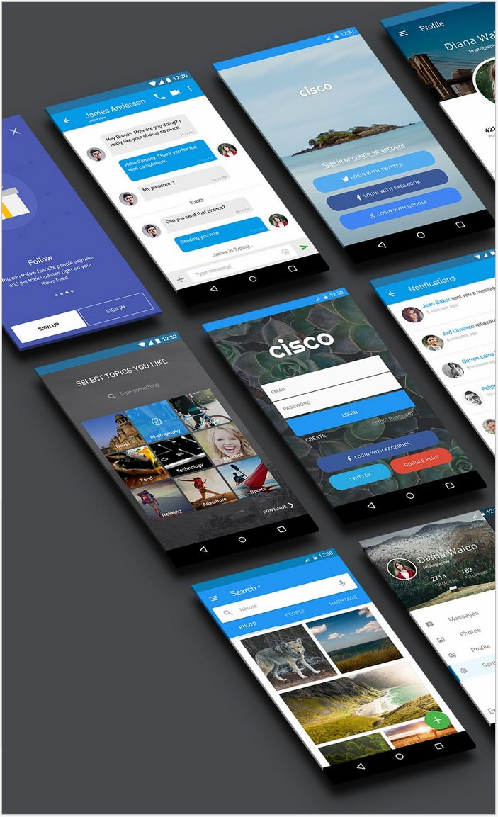 Cisco - Material App UI - Free PSD Sample