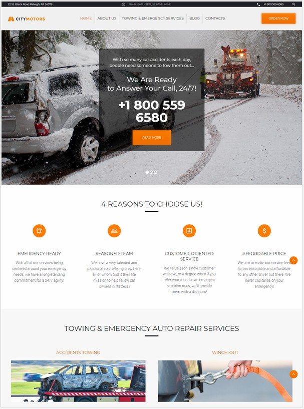 CityMotors - Auto Towing Company WordPress Theme