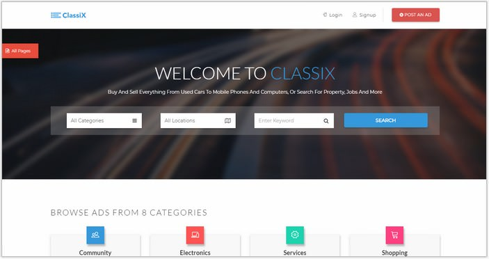 ClassiX – Free Bootstrap HTML5 Classified ads Template