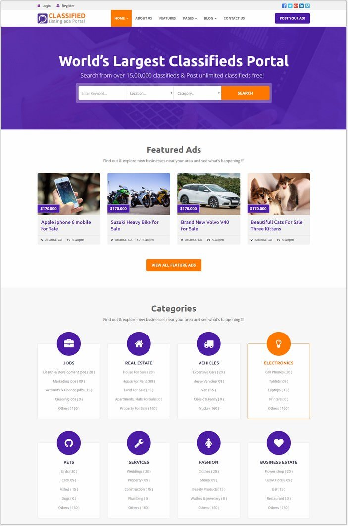 Classified - Classified and Listing HTML Template