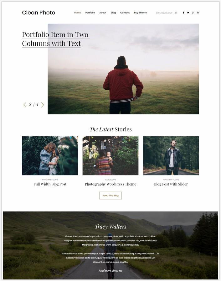 Clean Photo - Photography Portfolio WordPress Them