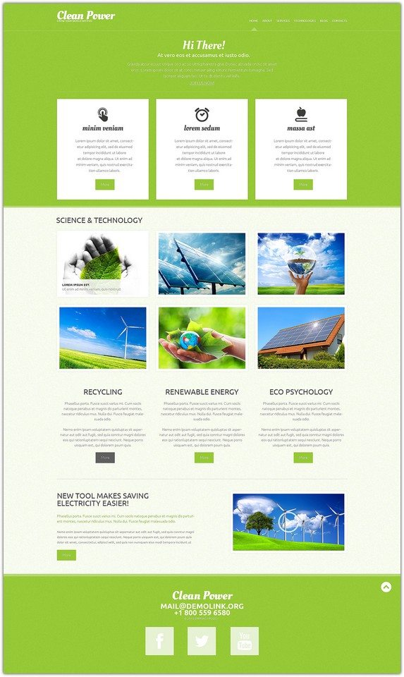 Clean Power Alternative Power Responsive WordPress Theme
