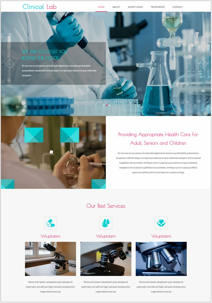 Clinical Lab Bootstrap Responsive Web Template