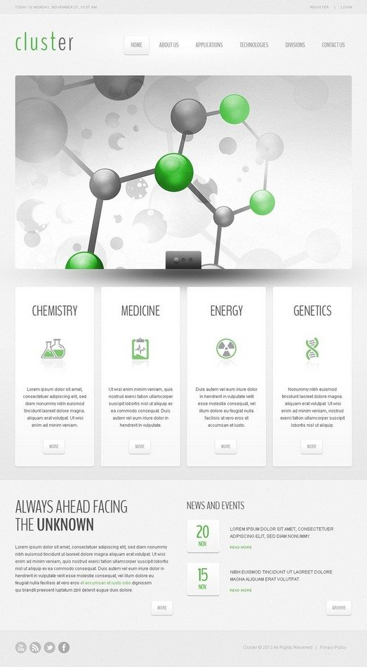 Cluster Science Lab Responsive Website Template