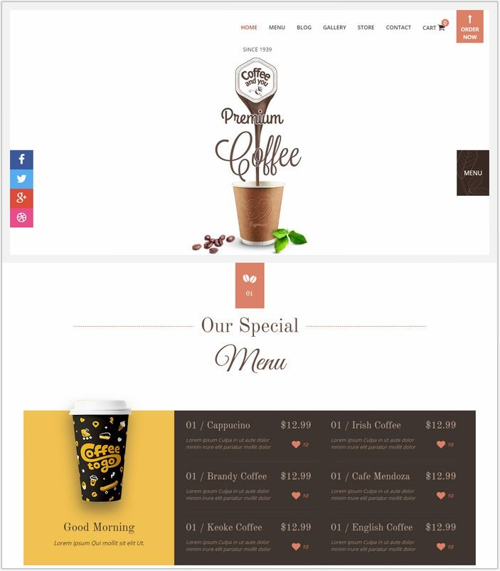 Coffee Shop - Multipage HTML Restaurant PHP Template