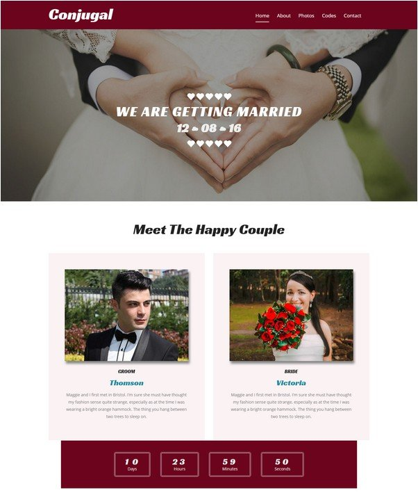 Conjugal a Wedding Flat Bootstrap Responsive Web Template