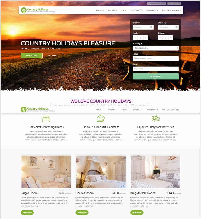 CountryHolidays - Hotel Template