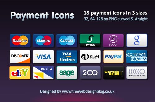 Credit Card, Debit Card and Payment Icons Set