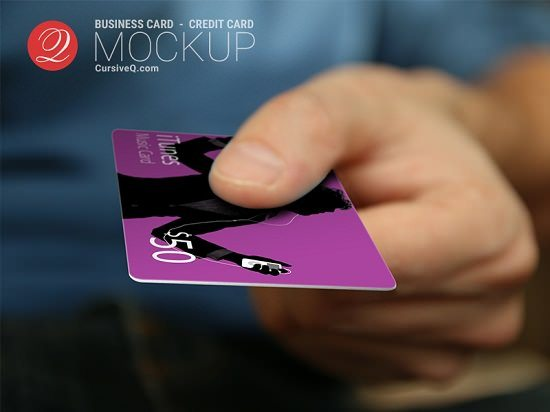 Credit Card Hand Mockup -PSD Template