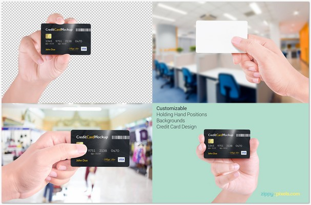 Credit Card Mockup With 4 Unique Holding Positions