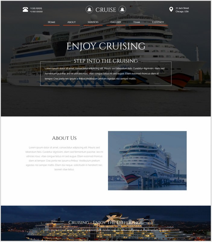 Cruise a Travel Category Web Template