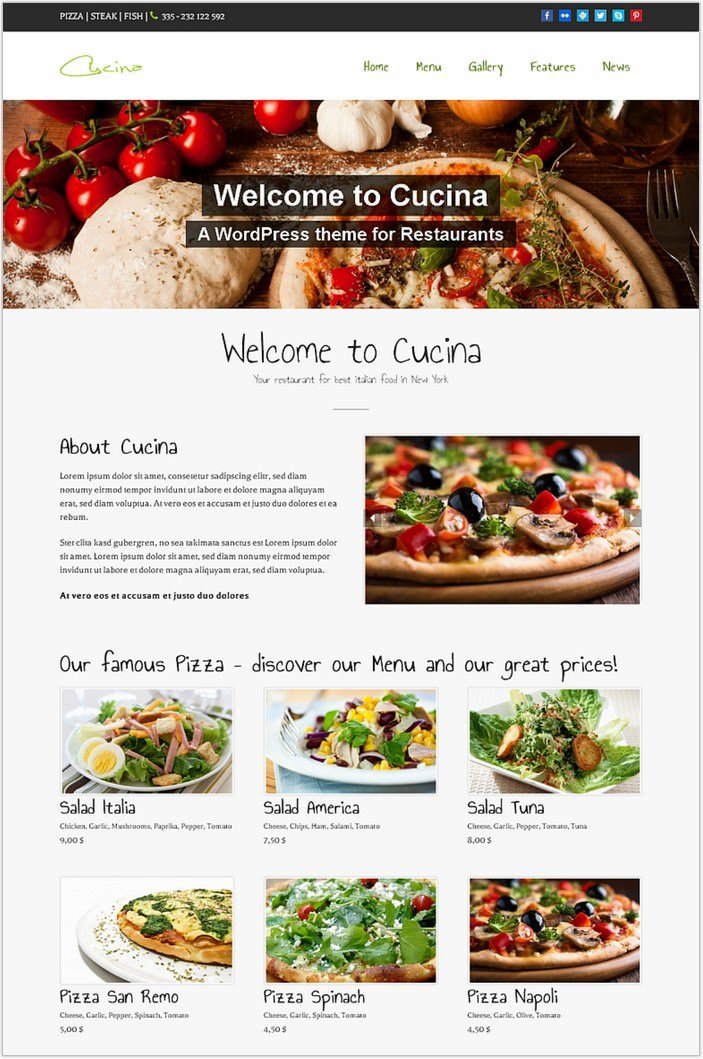 Cucina Restaurant and Pub WordPress PHP Theme
