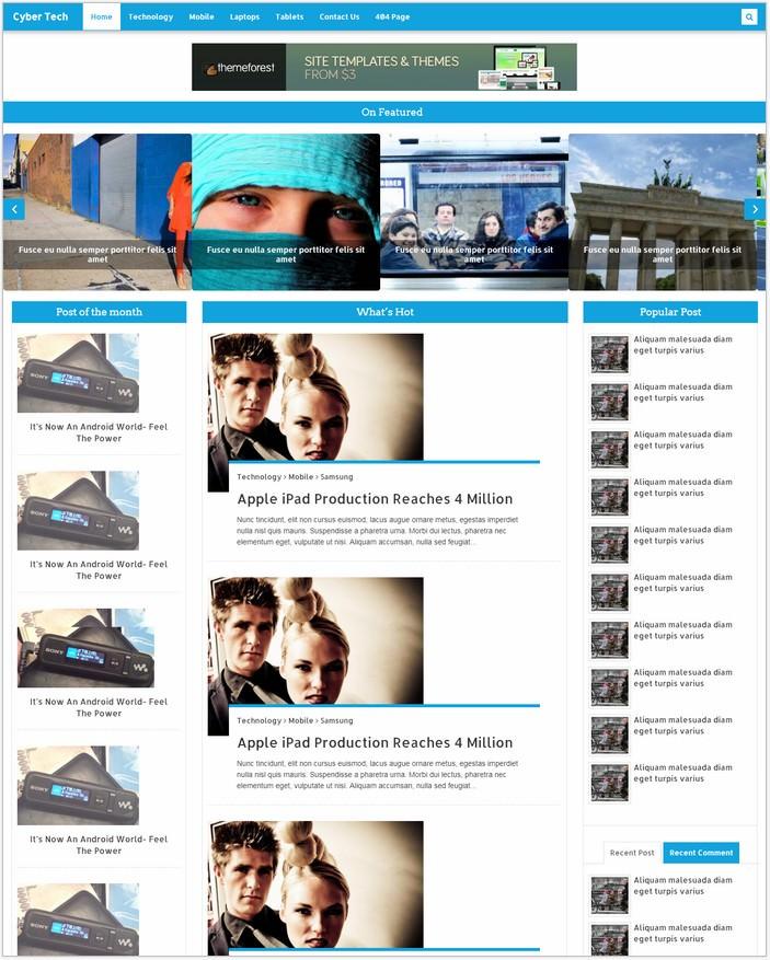Cyber Tech News Free Template