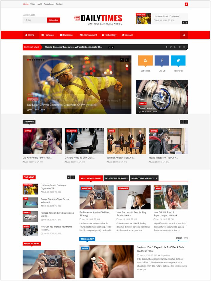 DailyTimes - News Joomla Template