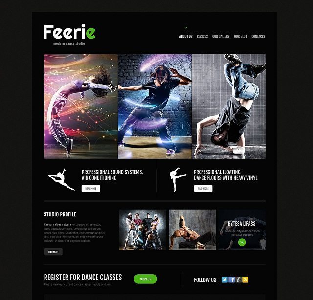 Dance Studio Responsive WordPress Themes