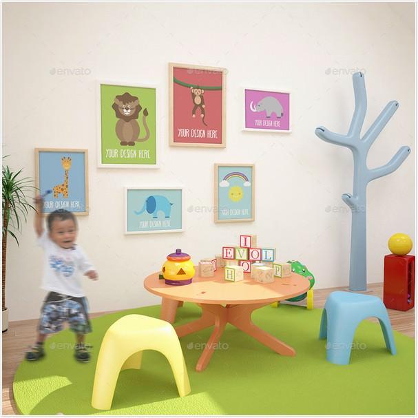 Decorative Interior Children Room Gallery MockUP