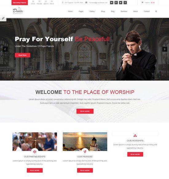 Deeds - Simple Nonprofit Church Website Template